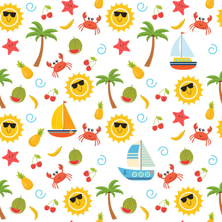 watermelon boat: Colorful summer seamless pattern with sun, crab, starfish, palm, pineapple, banana, sailboats and watermelon. Cute background. Vector illustration