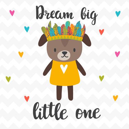 Sognate il piccolo grande Citazione ispiratrice. Lettere disegnate a mano. Poster motivazionale Cucciolo tenero. Illustrazione vettoriale Vettoriali