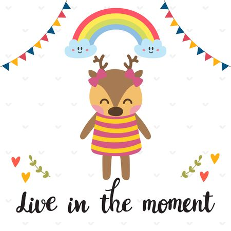 children silhouettes: Live in the moment. Inspirational quote. Hand drawn lettering. Motivational poster. Cute deer. Vector illustration
