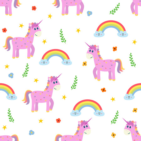 Seamless pattern with cute pink unicorn and rainbow. Fashion childish background with different design elements. Vector illustration Ilustrace