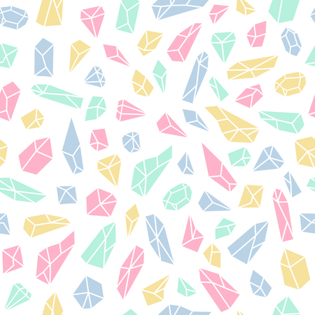 Geometric seamless pattern with crystals and diamonds. Polygonal artistic background with crystal shapes. Vector illustration