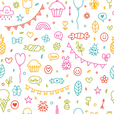 Background for cute little boys and girls. Hand drawn children drawings color seamless pattern. Doodle children drawings. Sketch. Vector illustration
