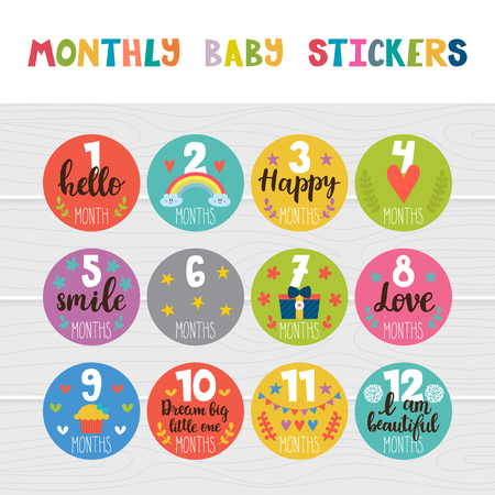 Monthly baby stickers for little girls and boys. Month by month growth stickers for clothing. Great baby shower gift. Love