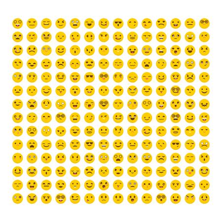 Set van emoticons. Plat ontwerp. Grote collectie met verschillende uitdrukkingen. Leuke emoji-pictogrammen. Avatars Stock Illustratie