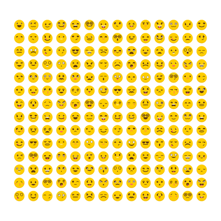 cute guy: Big set of emoticons. Flat design. Avatars. Collection with different expressions. Cute emoji icons