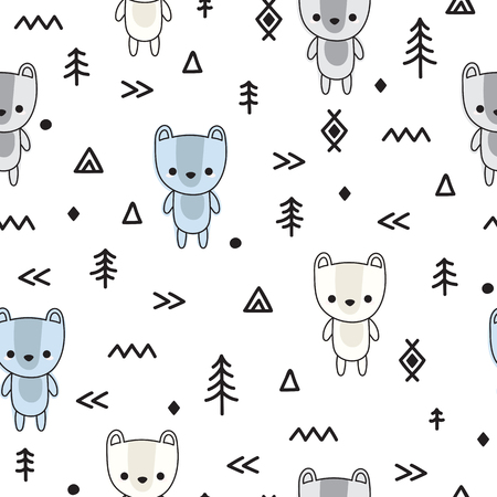 Abstract seamless pattern with cute bears for kids. Modern stylish texture. Trendy hand drawn background. Vector illustration