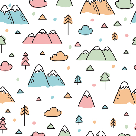 Hand drawn pattern with trees and mountains.