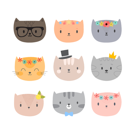 Set of cute cartoon cats. Funny animals. Different kittens in flat style. Vector illustration