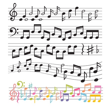 Set of hand drawn music notes. Music design elements. Key sign collection. Melody symbols. Vector illustration