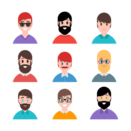 Stylized beautiful young boys and men. Avatars in cartoon flat style. Male characters. Vector illustration