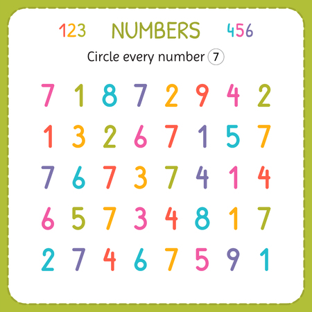 Circle every number Seven. Numbers for kids. Worksheet for kindergarten and preschool. Training to write and count numbers. Exercises for children. Vector illustration. Ilustração