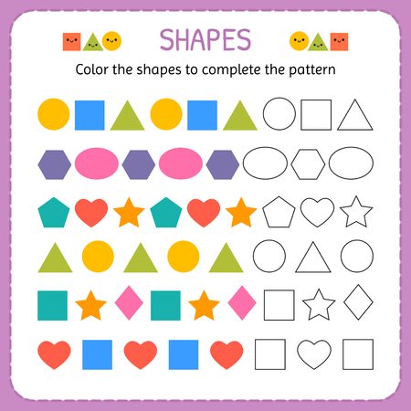 Color the shapes to complete the pattern. Learn shapes and geometric figures. Preschool or kindergarten worksheet. Vector illustration