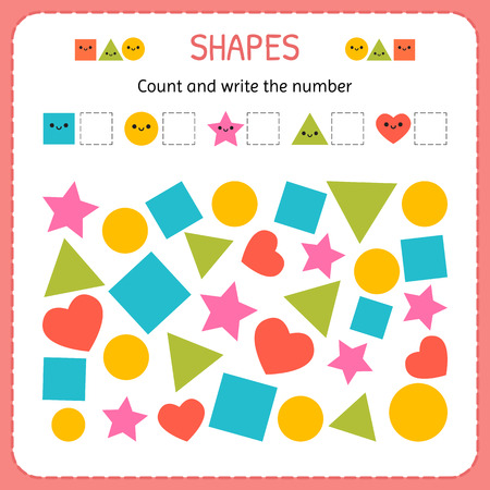Count and write the number. Learn shapes and geometric figures. Preschool or kindergarten worksheet. Vector illustration