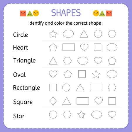 Identify and color the correct shape. Learn shapes and geometric figures. Preschool or kindergarten worksheet. Vector illustration