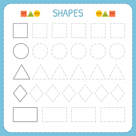 Learn shapes and geometric figures. Preschool or kindergarten worksheet for practicing motor skills. Tracing dashed lines. Vector illustration Vettoriali
