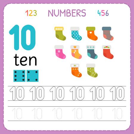 Numbers tracing worksheet for preschool and kindergarten. Writing number Ten. Exercises for kids. Mathematics games. Vector illustration