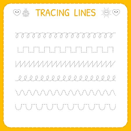 Trace line worksheet for kids. Basic writing. Working pages for children. Preschool or kindergarten worksheet. Trace the pattern. Vector illustration 일러스트