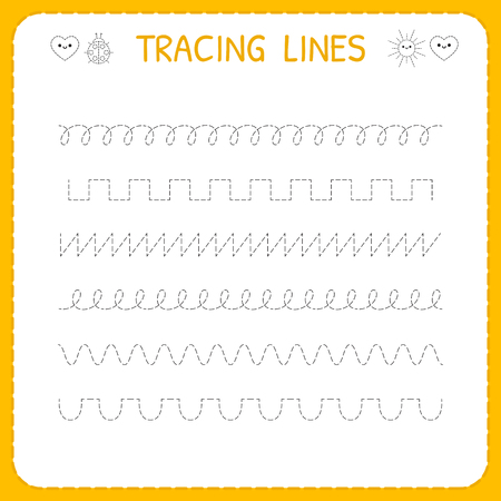 Trace line worksheet for kids. Basic writing. Working pages for children. Preschool or kindergarten worksheet. Trace the pattern. Vector illustration Vettoriali