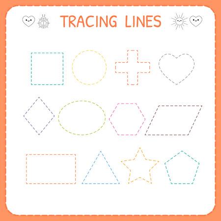 Trace line worksheet for kids. Working pages for children. Preschool or kindergarten worksheet. Trace the shapes. Vector illustration