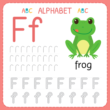 Alphabet tracing worksheet for preschool and kindergarten. Writing practice letter F. Exercises for kids. Vector illustration.