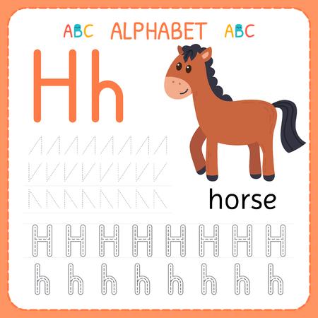 Alphabet tracing worksheet for preschool and kindergarten. Writing practice letter H. Exercises for kids. Vector illustration.