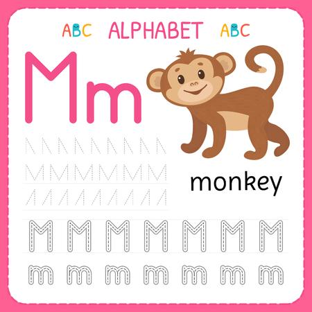 Alphabet tracing worksheet for preschool and kindergarten. Writing practice letter M. Exercises for kids. Vector illustration.