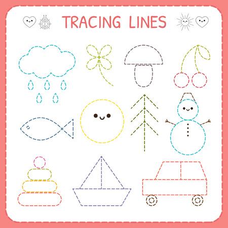 Kindergartens educational game for kids. Preschool tracing worksheet for practicing motor skills. Dashed lines. Working pages for children. Vector illustration