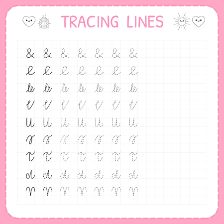 Tracing lines. Basic writing. Worksheet for kids. Working pages for children. Preschool or kindergarten worksheets. Trace the pattern. Vector illustration
