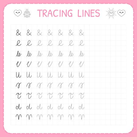 Tracing lines. Basic writing. Worksheet for kids. Working pages for children. Preschool or kindergarten worksheets. Trace the pattern. Vector illustration