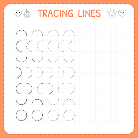 Tracing lines. Worksheet for kids. Basic writing. Working pages for children. Preschool or kindergarten worksheets. Trace the pattern. Vector illustration