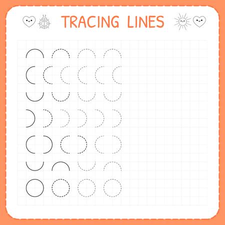 Tracing lines. Worksheet for kids. Basic writing. Working pages for children. Preschool or kindergarten worksheets. Trace the pattern. Vector illustration