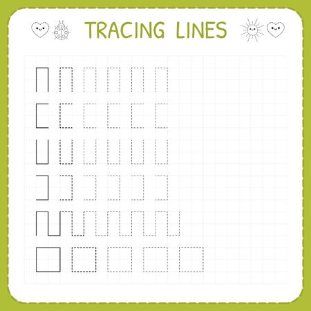 Tracing lines. Worksheet for kids. Working pages for children. Preschool or kindergarten worksheets. Trace the pattern. Basic writing. Vector illustration.