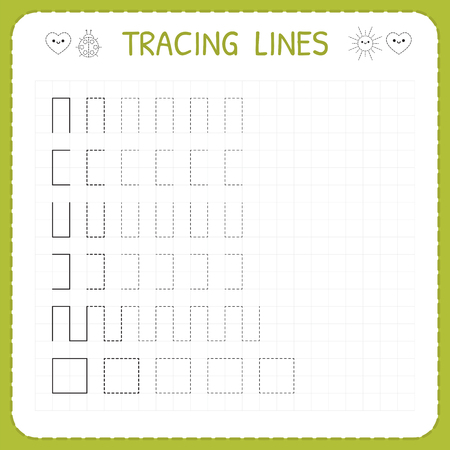 Tracing lines. Worksheet for kids. Working pages for children. Preschool or kindergarten worksheets. Trace the pattern. Basic writing. Vector illustration.