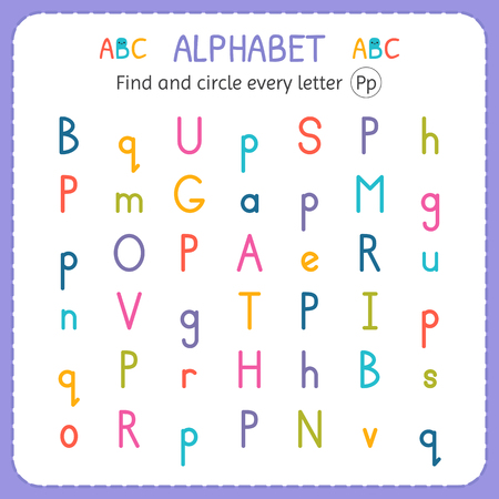 Find and circle every letter P. Worksheet for kindergarten and preschool. Exercises for children. Ilustração