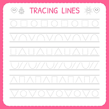 Basic writing. Trace line worksheet for kids. Preschool or kindergarten worksheet. Working pages for children. Vettoriali