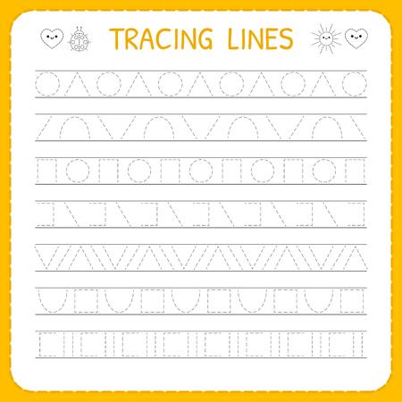 Basic writing. Trace line worksheet for kids. Working pages for children. Preschool or kindergarten worksheet. Illustration