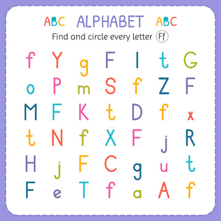 Find and circle every letter F. Worksheet for kindergarten and preschool. Exercises for children. Banco de Imagens - 100913289