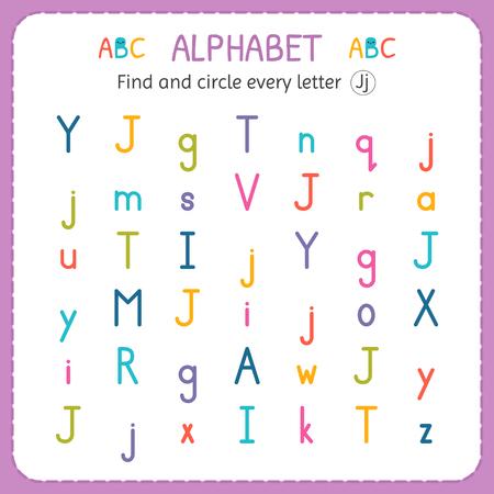 Find and circle every letter J. Worksheet for kindergarten and preschool. Exercises for children. Illustration