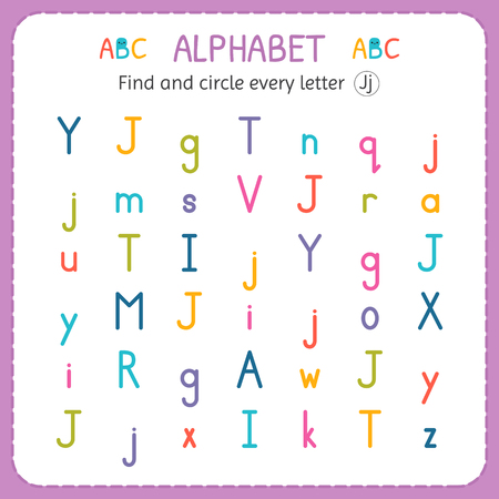 Find and circle every letter J. Worksheet for kindergarten and preschool. Exercises for children. 矢量图像
