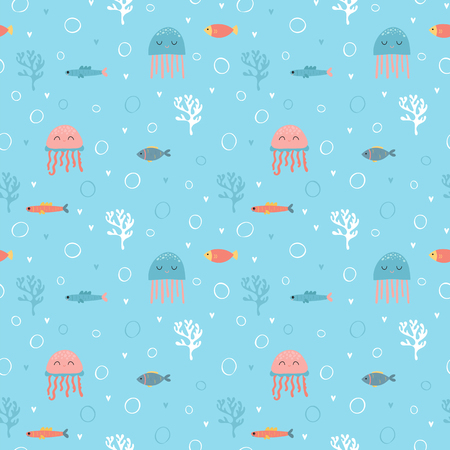 Childish seamless pattern with cute hand drawn fishes and jellyfishes in doodle style. Kids texture for fabric. Trendy nursery background. Vector illustration