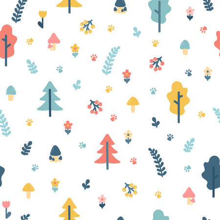 Hand drawn seamless pattern with trees. Wrapping paper. Background for your design. Stylish doodle forest. Vector illustration 向量圖像