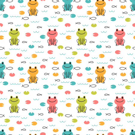 Handgezeichnetes nahtloses Muster mit niedlichen Cartoon-Fröschen und Fischen. Kindische Designtextur für Stoff, Verpackung, Textil, Dekor. Kinder Hintergrund. Vektor-Illustration