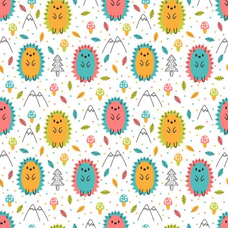 Hand drawn seamless pattern with cute cartoon hedgehogs. Childish design texture for fabric, wrapping, textile, decor. Kids background. Vector illustration 向量圖像