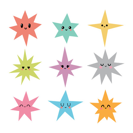 Funny happy stars in kawaii style. Cute cartoon characters for kids. Hand drawn stars with different emotions. Vector illustration