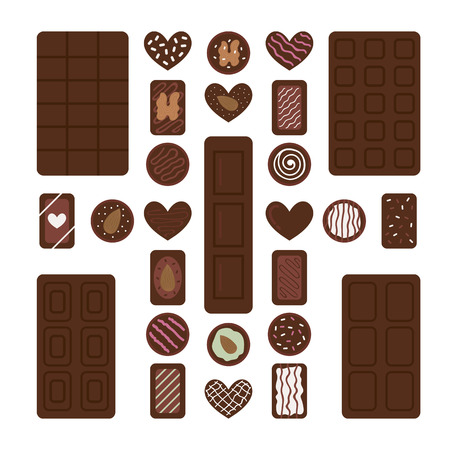 Set of different chocolate bars and candies. Chocolate desserts for coffee break. Vector illustration Banco de Imagens - 123466279