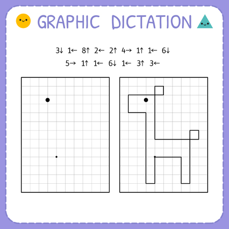 Grafisches Diktat. Giraffe. Kindergarten-Lernspiel für Kinder. Vorschularbeitsblatt zum Üben der motorischen Fähigkeiten. Arbeitsseiten für Kinder. Vektor-Illustration