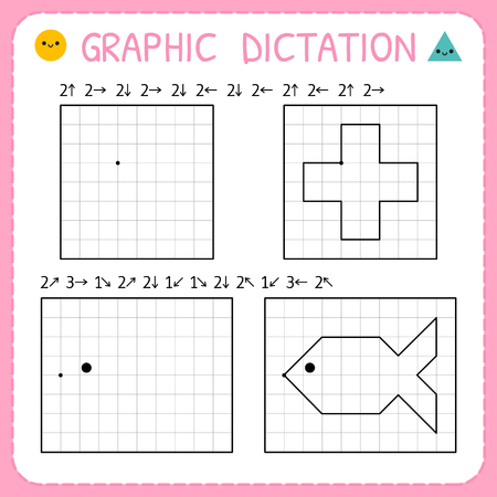 Graphic dictation. Kindergarten educational game for kids. Preschool worksheets for practicing motor skills. Working pages for children. Vector illustration