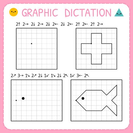 Graphic dictation. Kindergarten educational game for kids. Preschool worksheets for practicing motor skills. Working pages for children. Vector illustration Illustration