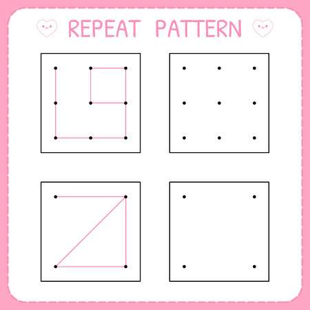Repeat pattern. Kindergarten educational game for kids. Working page for children. Preschool worksheet for practicing motor skills. Vector illustration Vectores