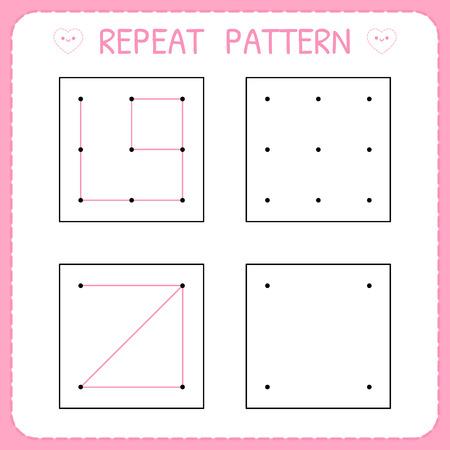 Repeat pattern. Kindergarten educational game for kids. Working page for children. Preschool worksheet for practicing motor skills. Vector illustration Illustration